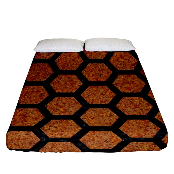 HEXAGON2 BLACK MARBLE & RUSTED METAL Fitted Sheet (Queen Size)
