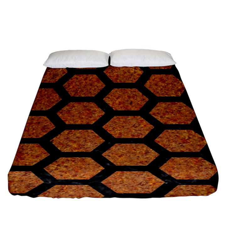 HEXAGON2 BLACK MARBLE & RUSTED METAL Fitted Sheet (King Size)