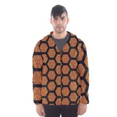 Hexagon2 Black Marble & Rusted Metal Hooded Wind Breaker (men)