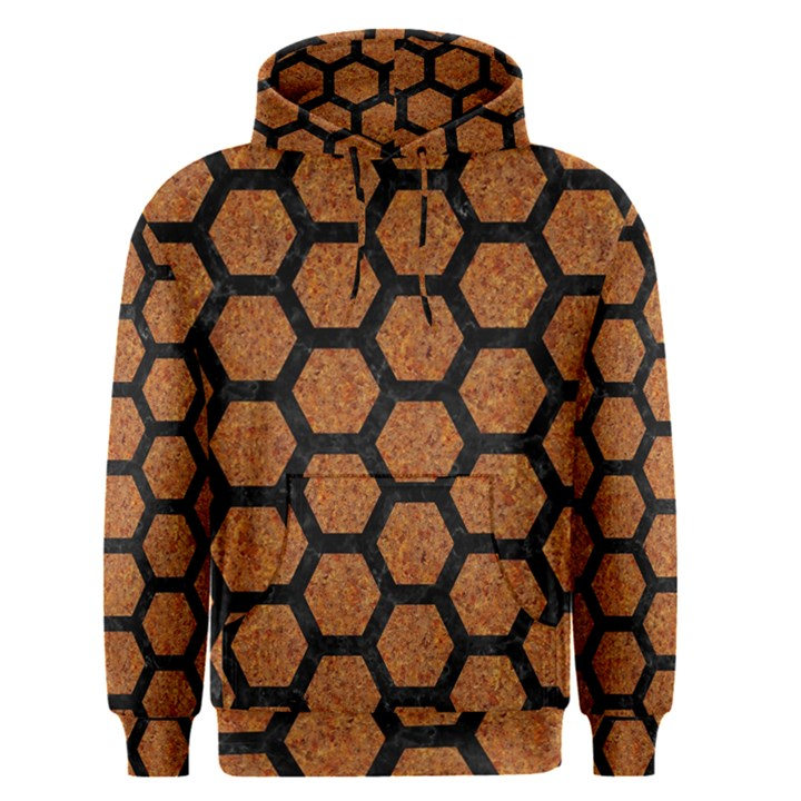 HEXAGON2 BLACK MARBLE & RUSTED METAL Men s Pullover Hoodie