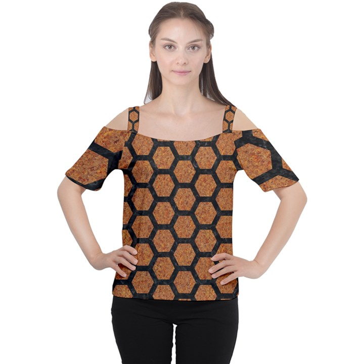 HEXAGON2 BLACK MARBLE & RUSTED METAL Cutout Shoulder Tee