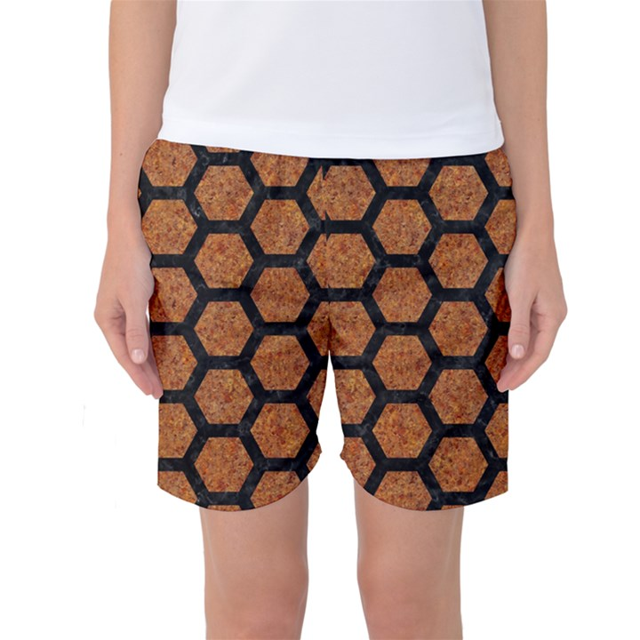 HEXAGON2 BLACK MARBLE & RUSTED METAL Women s Basketball Shorts