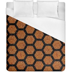 Hexagon2 Black Marble & Rusted Metal Duvet Cover (california King Size)
