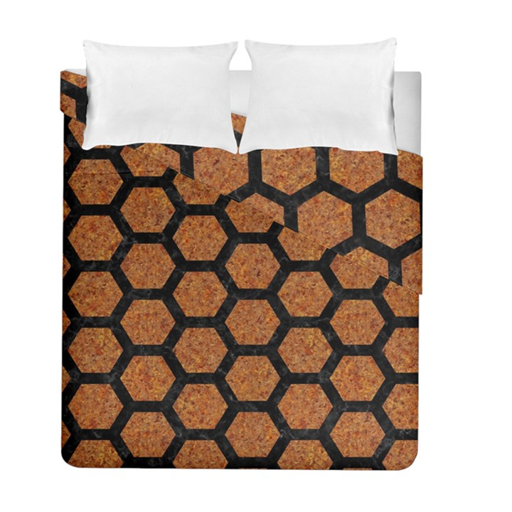 HEXAGON2 BLACK MARBLE & RUSTED METAL Duvet Cover Double Side (Full/ Double Size)