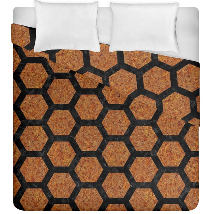 HEXAGON2 BLACK MARBLE & RUSTED METAL Duvet Cover Double Side (King Size)