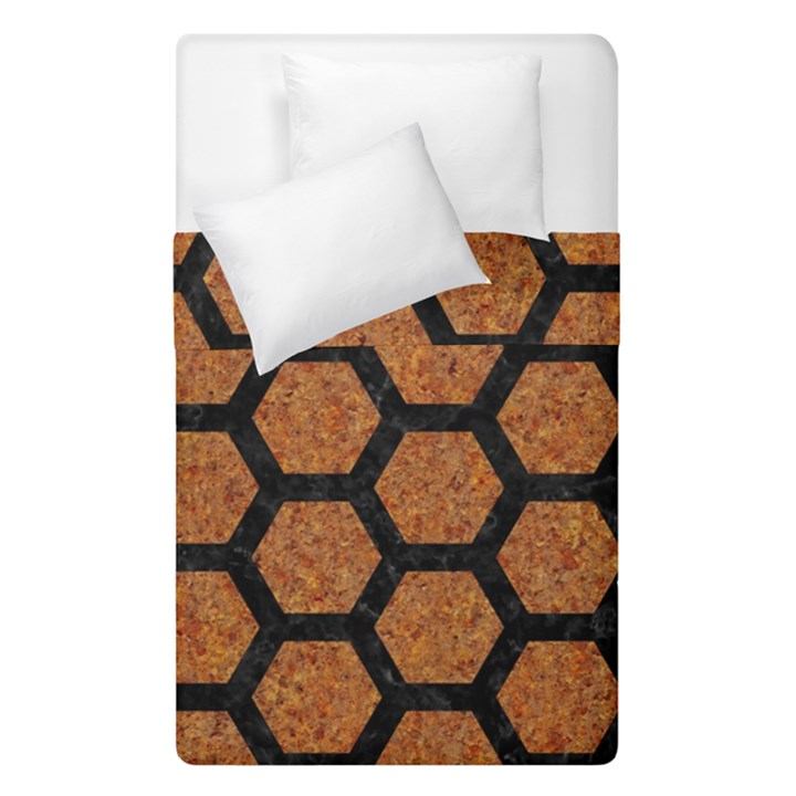 HEXAGON2 BLACK MARBLE & RUSTED METAL Duvet Cover Double Side (Single Size)