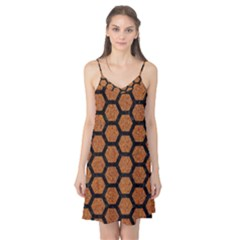 Hexagon2 Black Marble & Rusted Metal Camis Nightgown