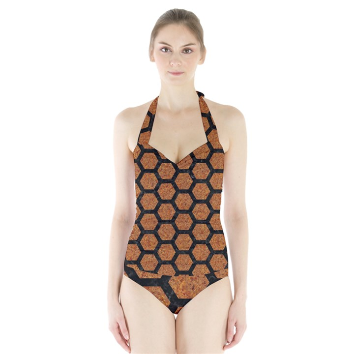HEXAGON2 BLACK MARBLE & RUSTED METAL Halter Swimsuit