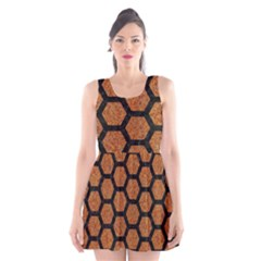 Hexagon2 Black Marble & Rusted Metal Scoop Neck Skater Dress