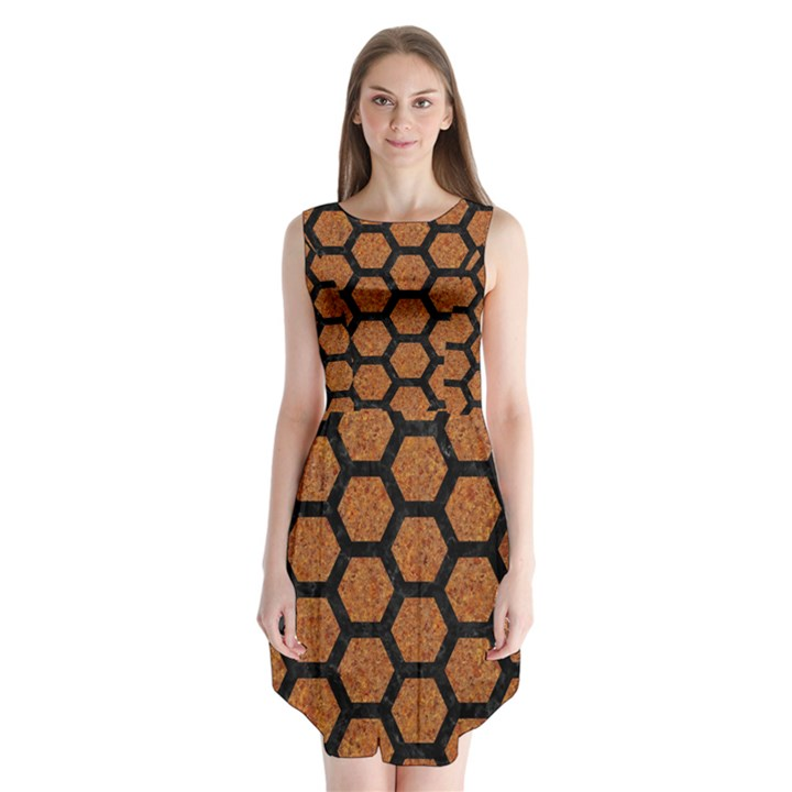 HEXAGON2 BLACK MARBLE & RUSTED METAL Sleeveless Chiffon Dress