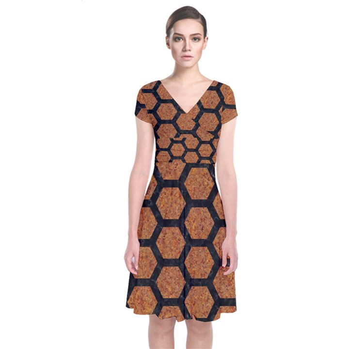 HEXAGON2 BLACK MARBLE & RUSTED METAL Short Sleeve Front Wrap Dress