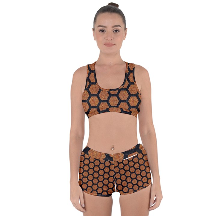 HEXAGON2 BLACK MARBLE & RUSTED METAL Racerback Boyleg Bikini Set