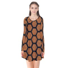 Hexagon2 Black Marble & Rusted Metal Flare Dress