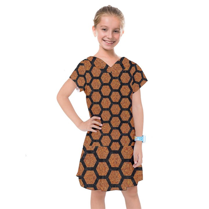 HEXAGON2 BLACK MARBLE & RUSTED METAL Kids  Drop Waist Dress