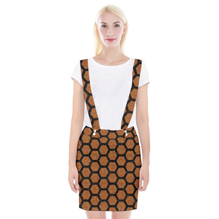 HEXAGON2 BLACK MARBLE & RUSTED METAL Braces Suspender Skirt