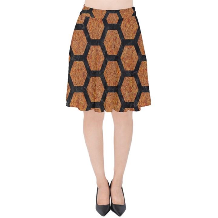 HEXAGON2 BLACK MARBLE & RUSTED METAL Velvet High Waist Skirt