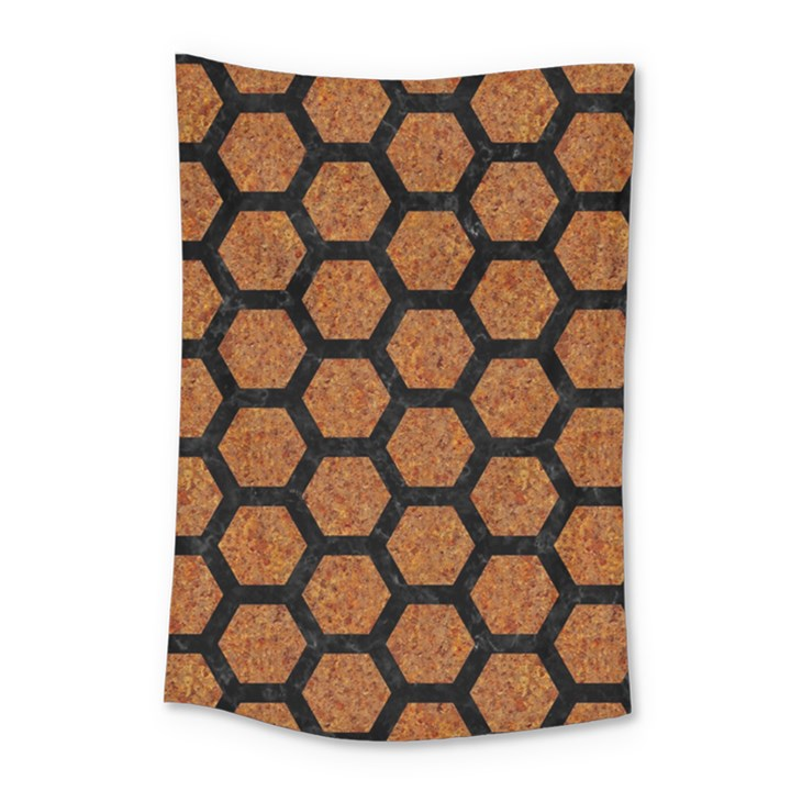 HEXAGON2 BLACK MARBLE & RUSTED METAL Small Tapestry