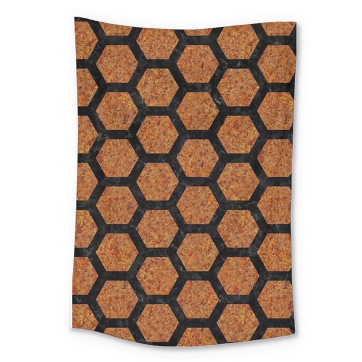 HEXAGON2 BLACK MARBLE & RUSTED METAL Large Tapestry