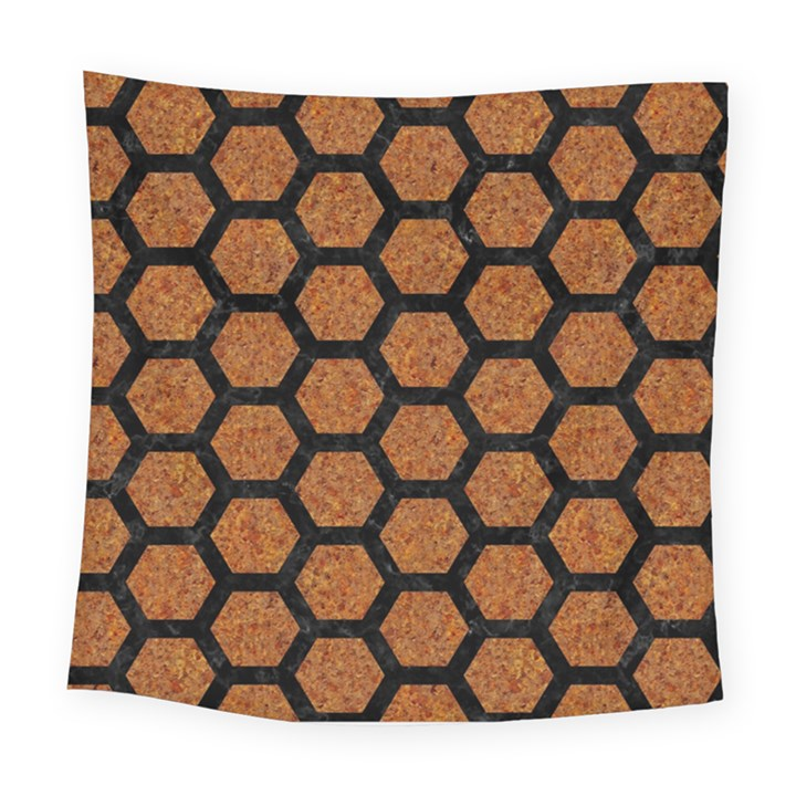 HEXAGON2 BLACK MARBLE & RUSTED METAL Square Tapestry (Large)