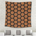 HEXAGON2 BLACK MARBLE & RUSTED METAL Square Tapestry (Large) View2