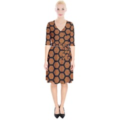 Hexagon2 Black Marble & Rusted Metal Wrap Up Cocktail Dress