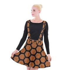 Hexagon2 Black Marble & Rusted Metal Suspender Skater Skirt