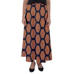 Hexagon2 Black Marble & Rusted Metal Flared Maxi Skirt