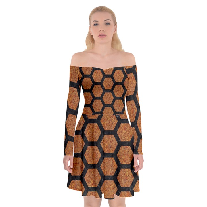 HEXAGON2 BLACK MARBLE & RUSTED METAL Off Shoulder Skater Dress
