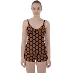 Hexagon2 Black Marble & Rusted Metal Tie Front Two Piece Tankini