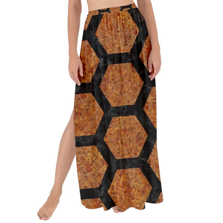 HEXAGON2 BLACK MARBLE & RUSTED METAL Maxi Chiffon Tie-Up Sarong