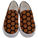 HEXAGON2 BLACK MARBLE & RUSTED METAL Men s Canvas Slip Ons View1