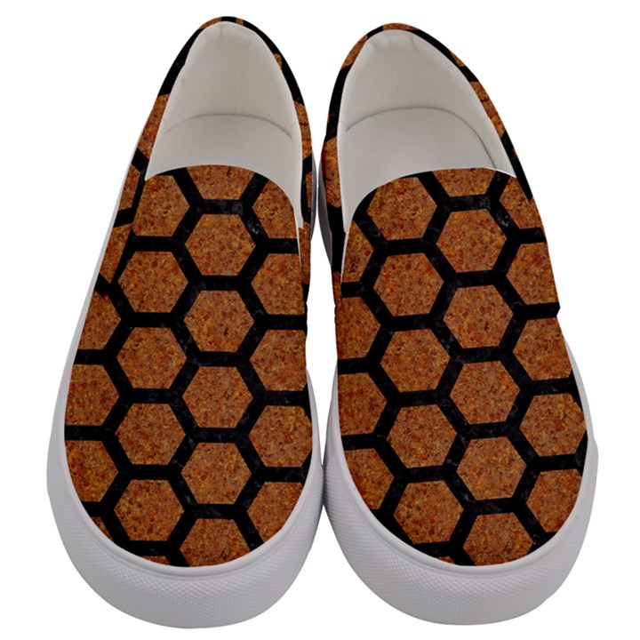HEXAGON2 BLACK MARBLE & RUSTED METAL Men s Canvas Slip Ons