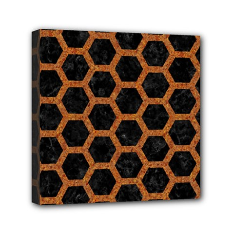 Hexagon2 Black Marble & Rusted Metal (r) Mini Canvas 6  X 6