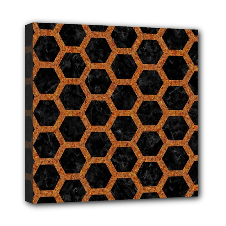 HEXAGON2 BLACK MARBLE & RUSTED METAL (R) Mini Canvas 8  x 8