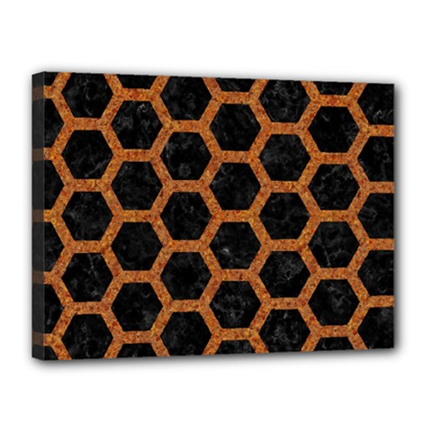 Hexagon2 Black Marble & Rusted Metal (r) Canvas 16  X 12