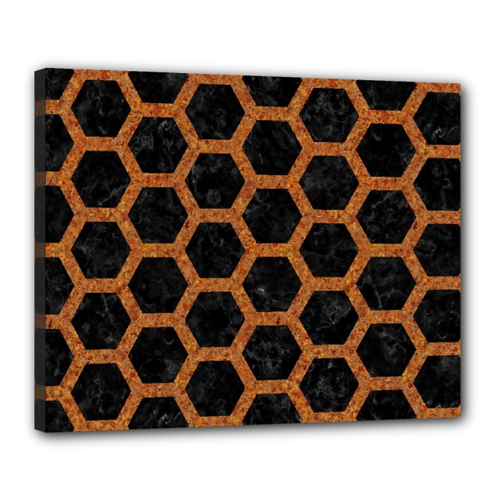 HEXAGON2 BLACK MARBLE & RUSTED METAL (R) Canvas 20  x 16