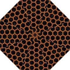 Hexagon2 Black Marble & Rusted Metal (r) Hook Handle Umbrellas (large)