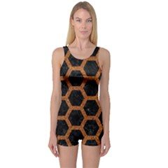 Hexagon2 Black Marble & Rusted Metal (r) One Piece Boyleg Swimsuit