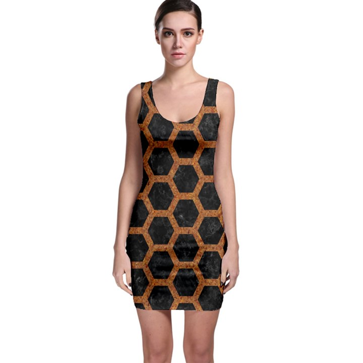 HEXAGON2 BLACK MARBLE & RUSTED METAL (R) Bodycon Dress