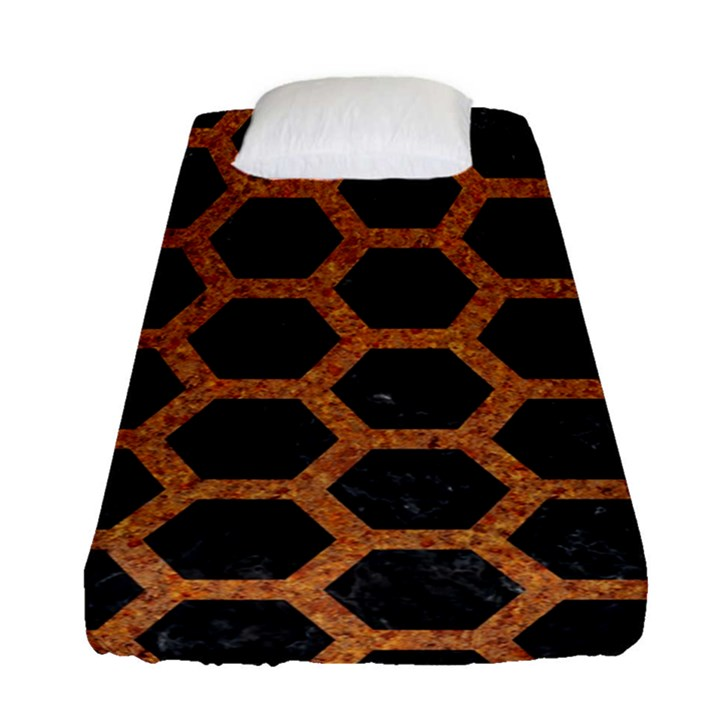 HEXAGON2 BLACK MARBLE & RUSTED METAL (R) Fitted Sheet (Single Size)