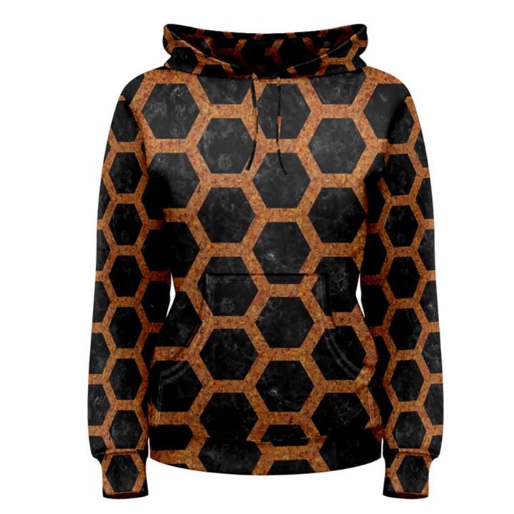 HEXAGON2 BLACK MARBLE & RUSTED METAL (R) Women s Pullover Hoodie