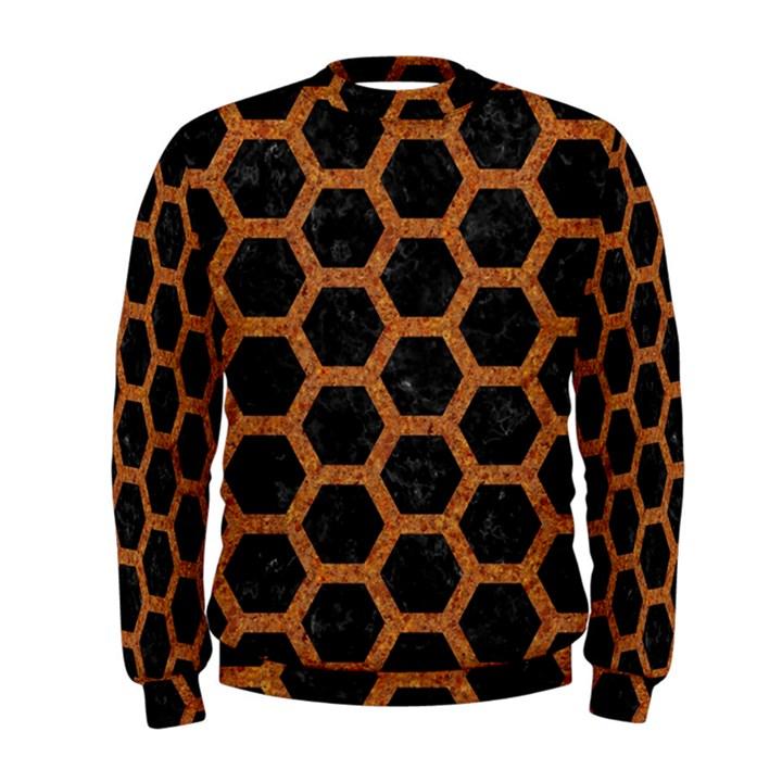 HEXAGON2 BLACK MARBLE & RUSTED METAL (R) Men s Sweatshirt