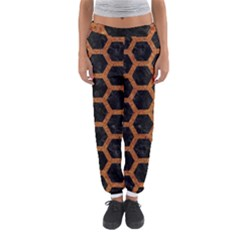 Hexagon2 Black Marble & Rusted Metal (r) Women s Jogger Sweatpants