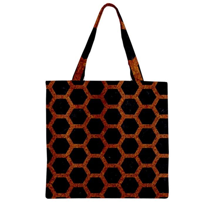 HEXAGON2 BLACK MARBLE & RUSTED METAL (R) Zipper Grocery Tote Bag