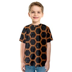 Hexagon2 Black Marble & Rusted Metal (r) Kids  Sport Mesh Tee