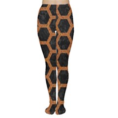 Hexagon2 Black Marble & Rusted Metal (r) Women s Tights