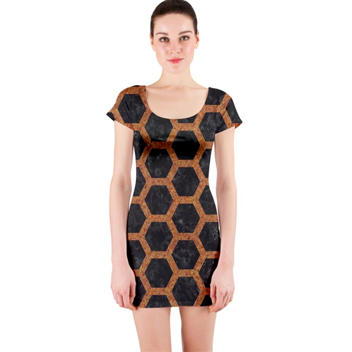 HEXAGON2 BLACK MARBLE & RUSTED METAL (R) Short Sleeve Bodycon Dress