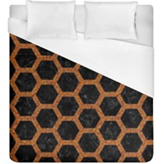 Hexagon2 Black Marble & Rusted Metal (r) Duvet Cover (king Size)