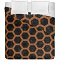 HEXAGON2 BLACK MARBLE & RUSTED METAL (R) Duvet Cover Double Side (California King Size) View1