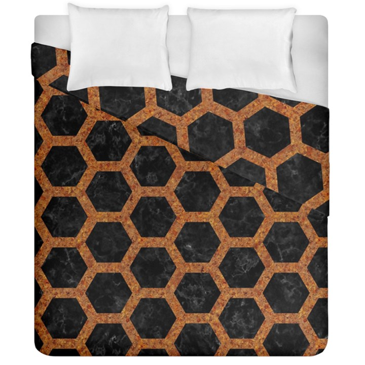 HEXAGON2 BLACK MARBLE & RUSTED METAL (R) Duvet Cover Double Side (California King Size)